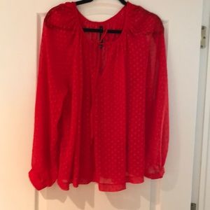 W118 by Walter waters red blouse sheer